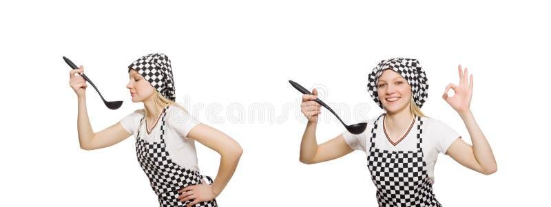 Cozinheiro da mulher isolado no fundo branco imagem de stock royalty free
