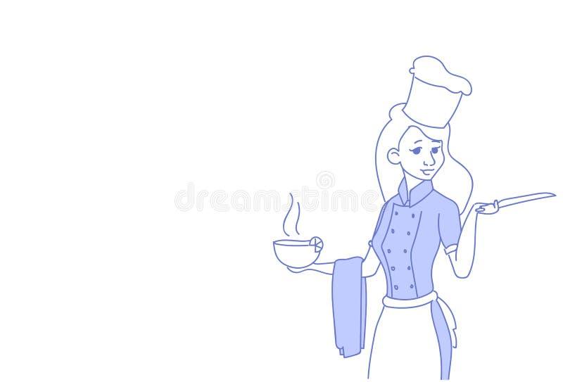 Cozinheiro da mulher que guarda cozinhar da garatuja uniforme principal fêmea do esboço do restaurante da sopa da bacia o retrato ilustração royalty free