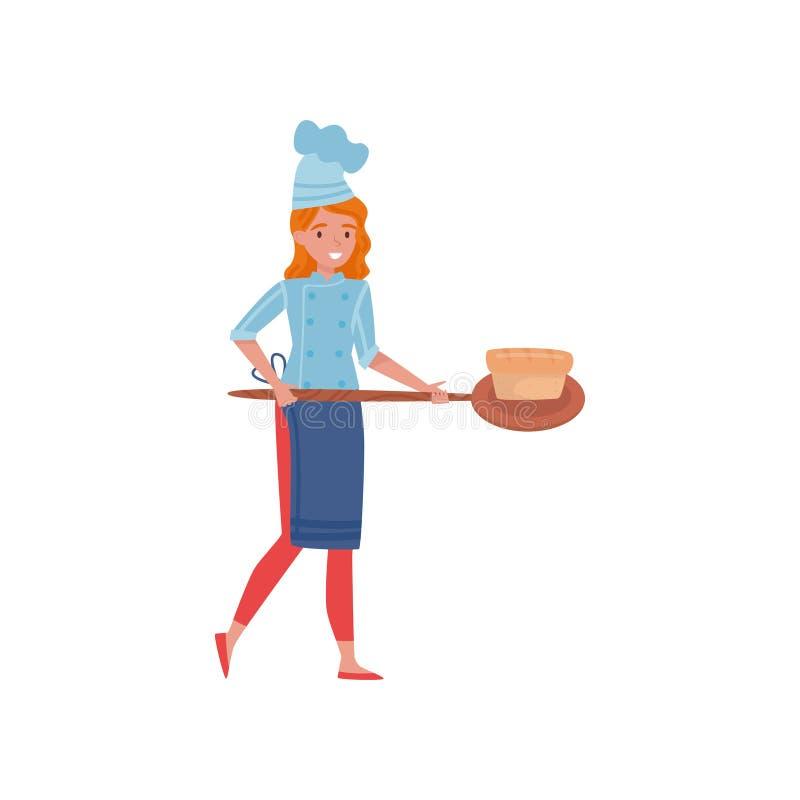 Cozinheiro da mulher que guarda a pá de madeira com pão fresco-cozido Moça no uniforme com chapéu do cozinheiro chefe e o avental ilustração royalty free