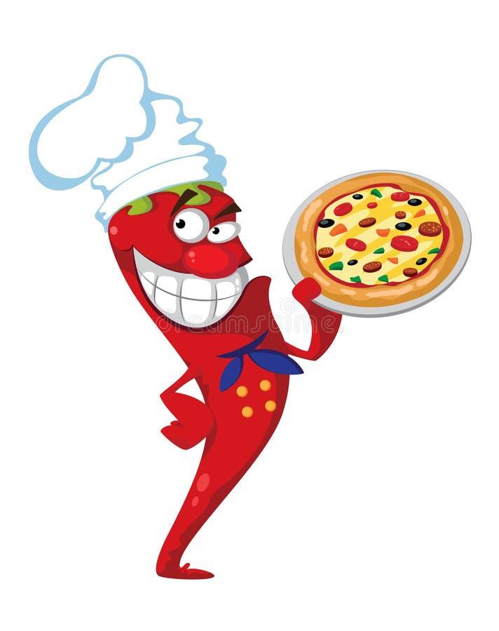 Cozinheiro da pimenta com pizza ilustração do vetor