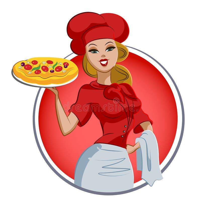 Cozinheiro da pizza da mulher chef Isolado em um fundo branco ilustração stock