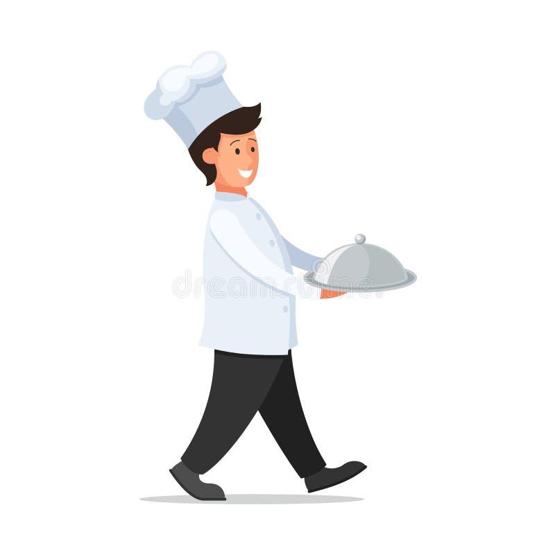 Cozinheiro de sorriso com bandeja ilustração royalty free