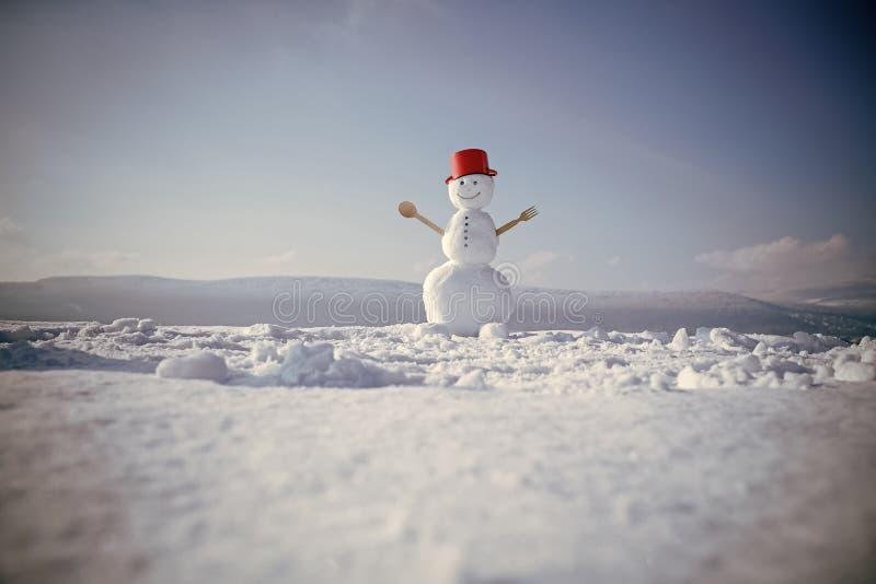 Cozinheiro do boneco de neve com colher e a forquilha de madeira Decoração do Natal ou do xmas imagens de stock