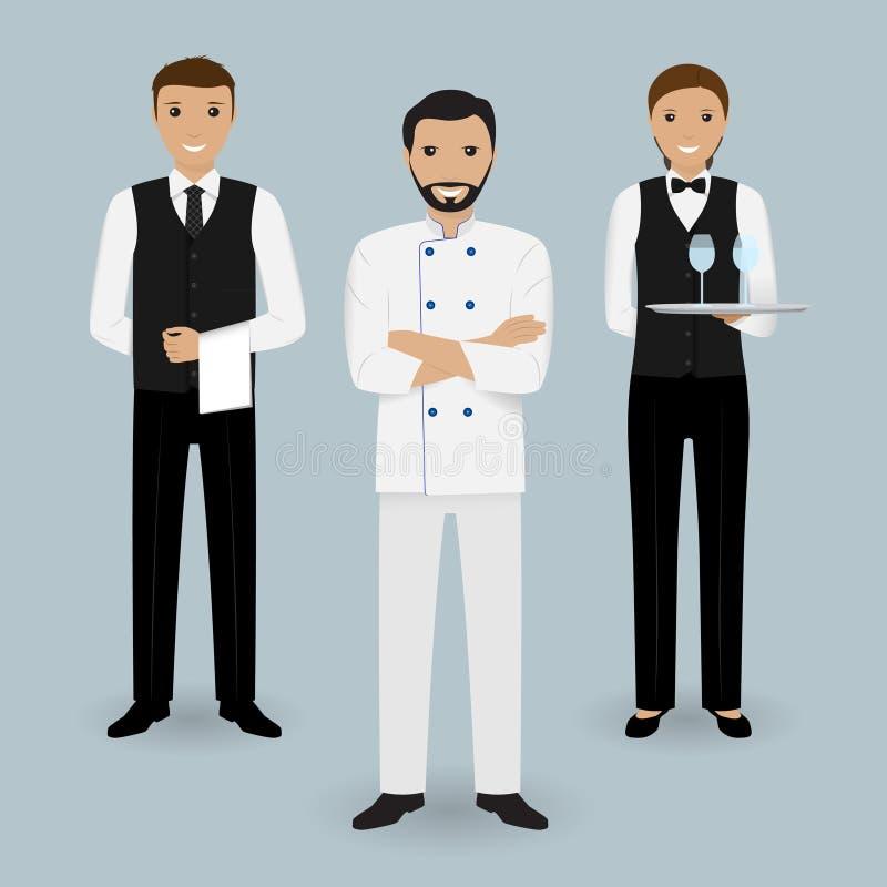 Cozinheiro do cozinheiro chefe e dois garçons no uniforme que está junto Caráteres dos povos do restaurante ilustração do vetor