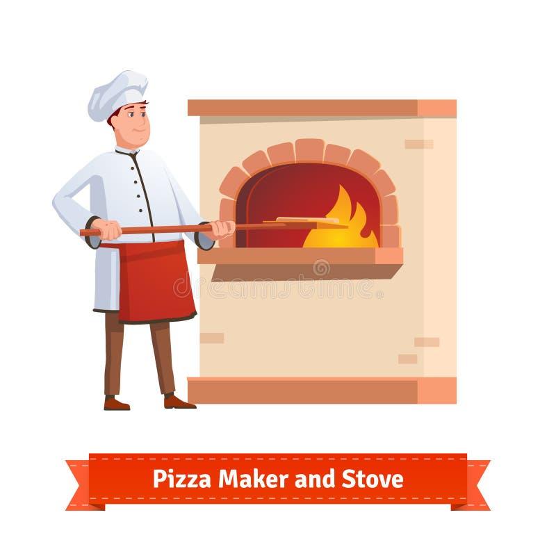 Cozinheiro do cozinheiro chefe que põe a pizza a uma fornalha da pedra do tijolo ilustração stock
