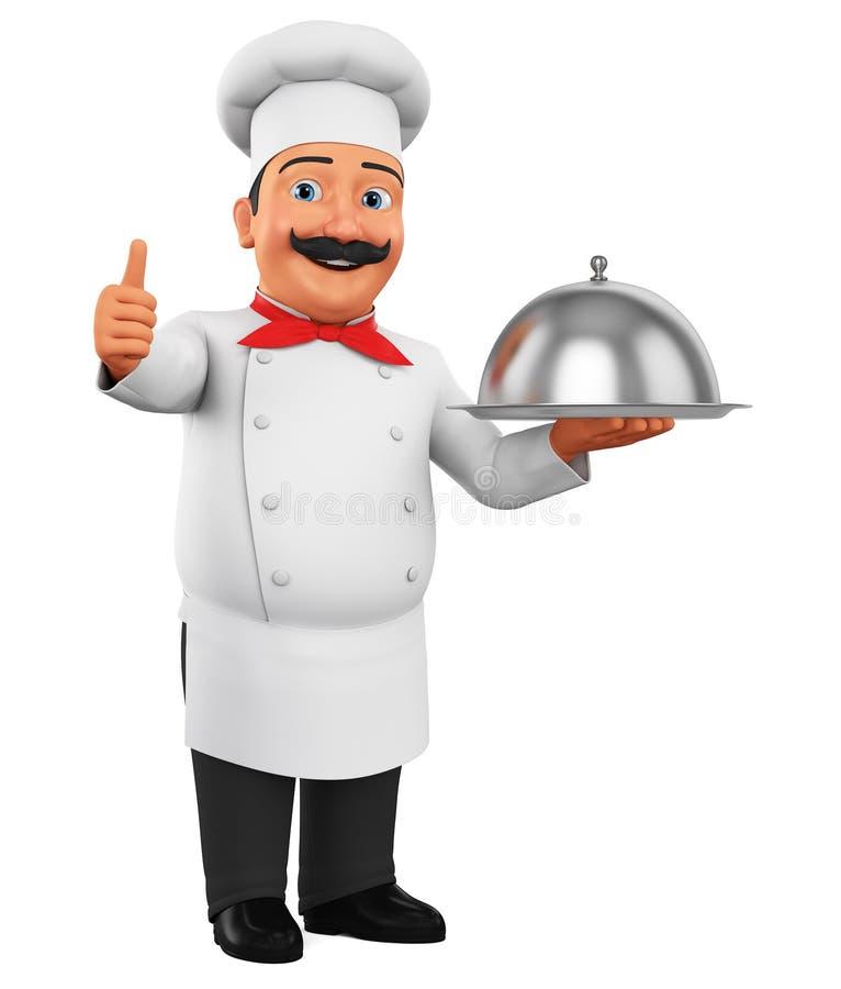 Cozinheiro do personagem de banda desenhada com o prato que mostra os polegares acima no espaço vazio no fundo branco rendi??o 3d ilustração stock