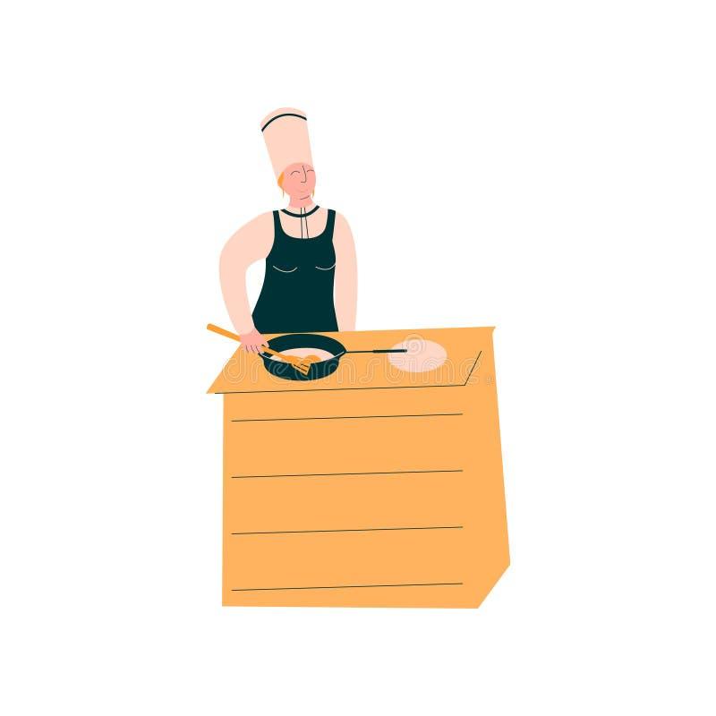 Cozinheiro fêmea Baking Pancakes, caráter profissional de Kitchener na ilustração deliciosa de preparação uniforme do vetor do pr ilustração stock
