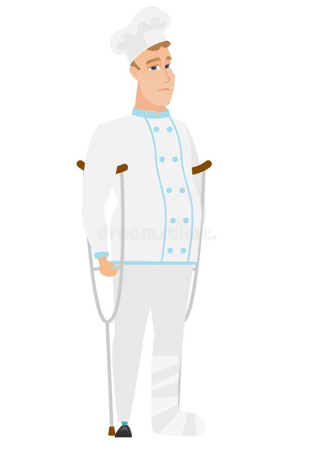 Cozinheiro ferido do cozinheiro chefe com pé quebrado ilustração stock