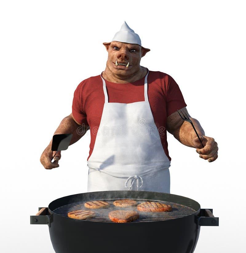 Cozinheiro Grilling Meat de Porkman ilustração royalty free