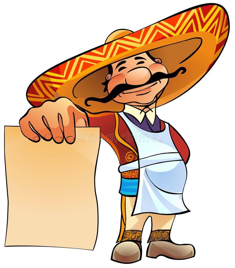 Cozinheiro mexicano com menu.