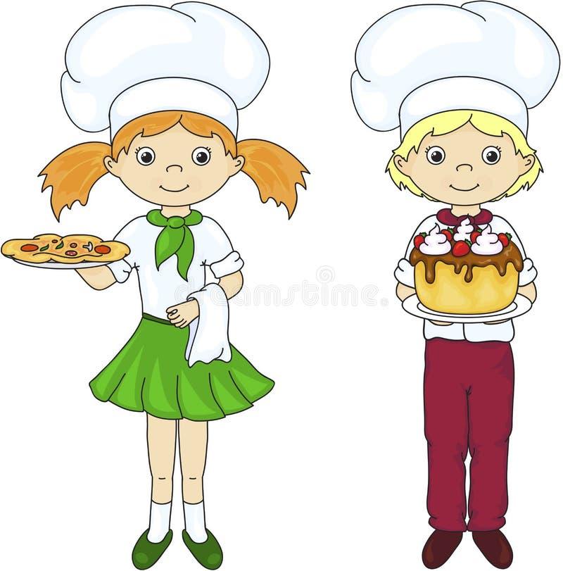 Cozinheiro ou garçom em seu uniforme com bolo e pizza ilustração royalty free