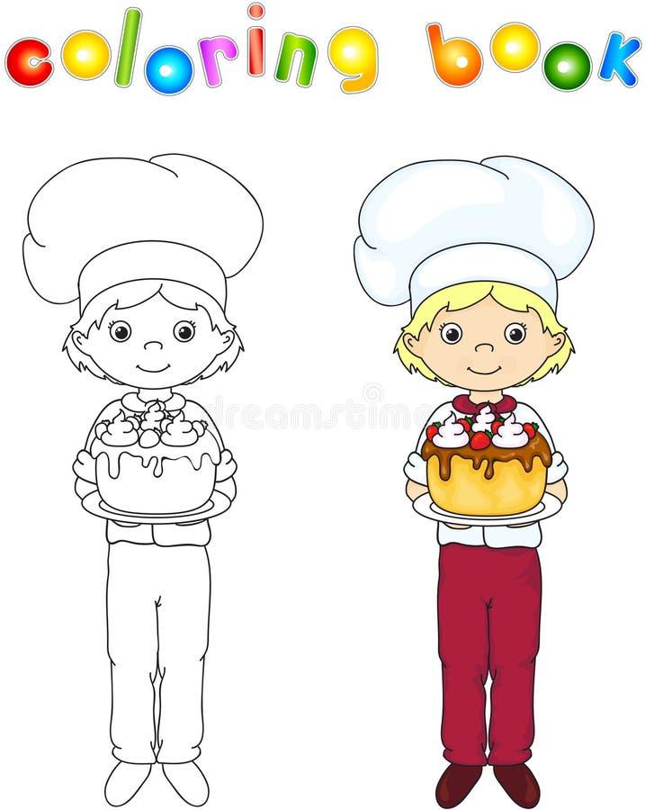 Cozinheiro ou garçom em seu uniforme com o bolo de aniversário doce Colori ilustração royalty free