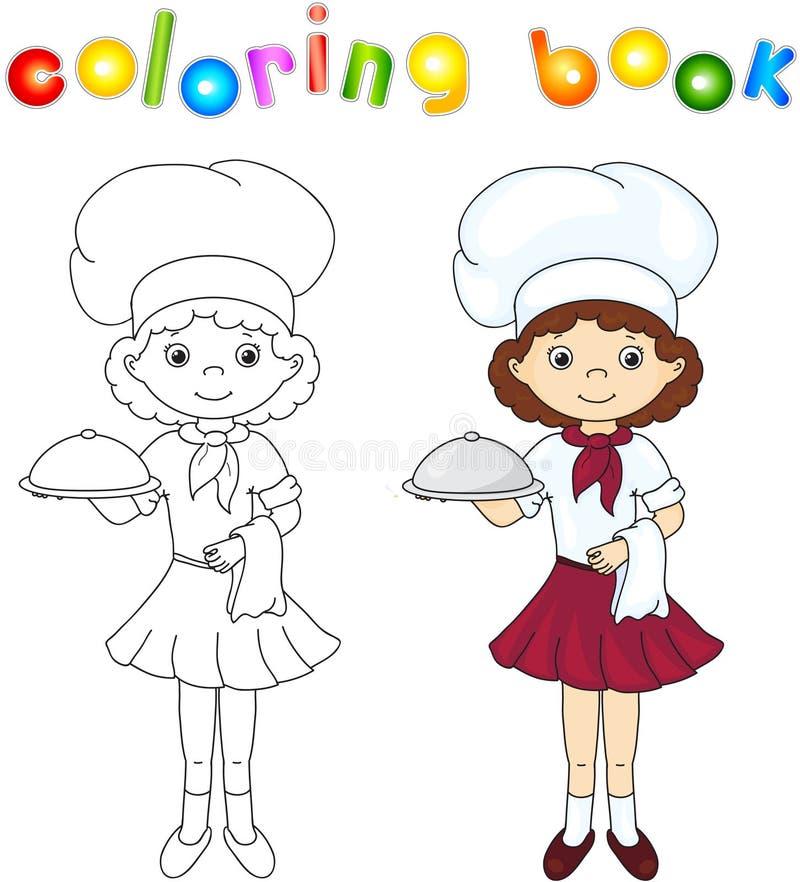 Cozinheiro ou garçom em seu uniforme com prato fechado Livro de coloração ilustração royalty free