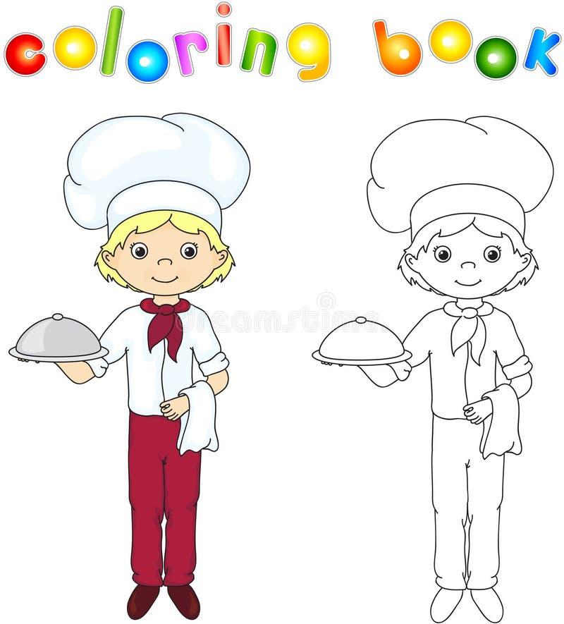 Cozinheiro ou garçom em seu uniforme com prato fechado Livro de coloração g ilustração royalty free