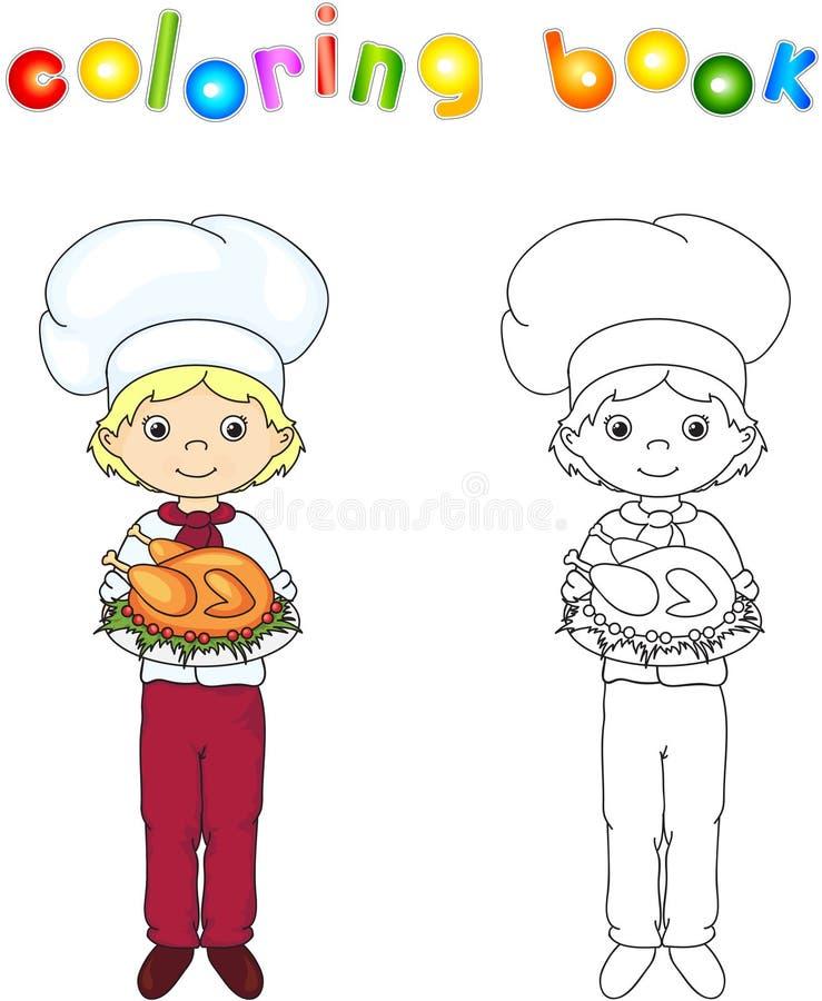Cozinheiro ou garçom em seu uniforme e toques com galinha roasted sobre ilustração stock