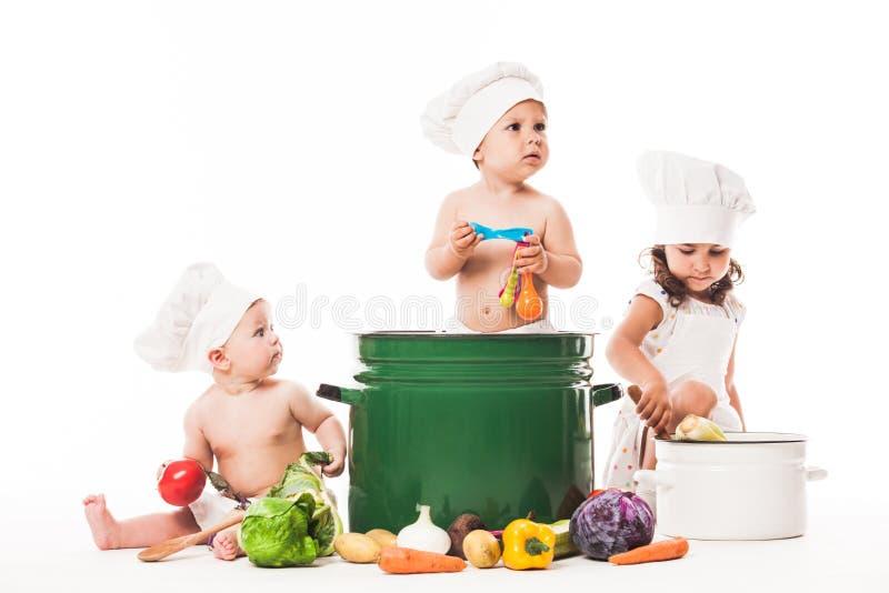 Cozinheiro pequeno dos cozinheiros chefe imagens de stock royalty free