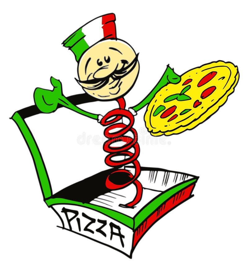 Cozinheiro/pizzaiolo italianos com pizza/logotipo ilustração royalty free