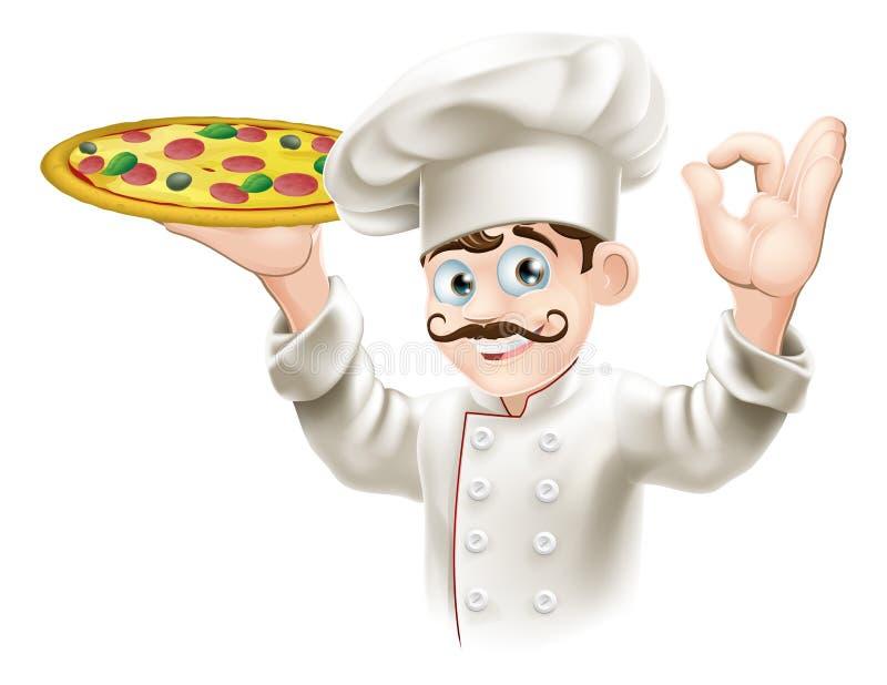 Cozinheiro que prende uma pizza saboroso ilustração do vetor