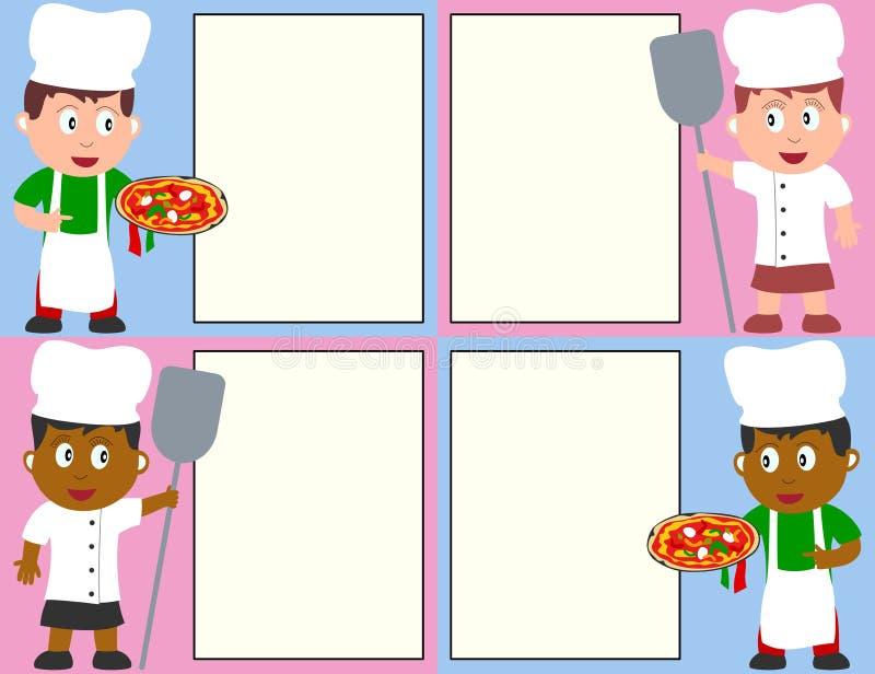 Cozinheiros chefe e menu da pizza ilustração do vetor