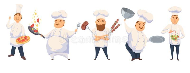 Cozinheiros chefe no restaurante ilustração royalty free