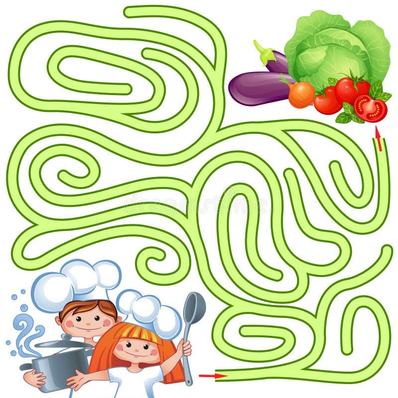 Cozinheiros chefe pequenos da ajuda para encontrar o trajeto ao vegetal labirinto Enigma Jogo do labirinto para miúdos ilustração stock