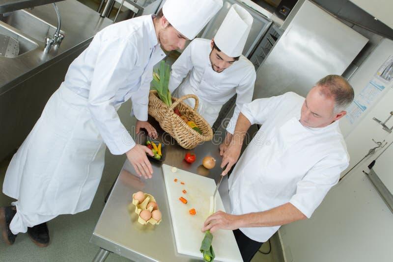 Cozinheiros chefe profissionais no trabalho imagens de stock