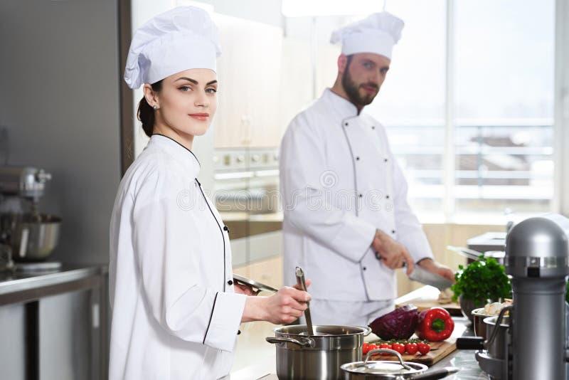 Cozinheiros chefe profissionais que trabalham pelo fogão imagem de stock royalty free