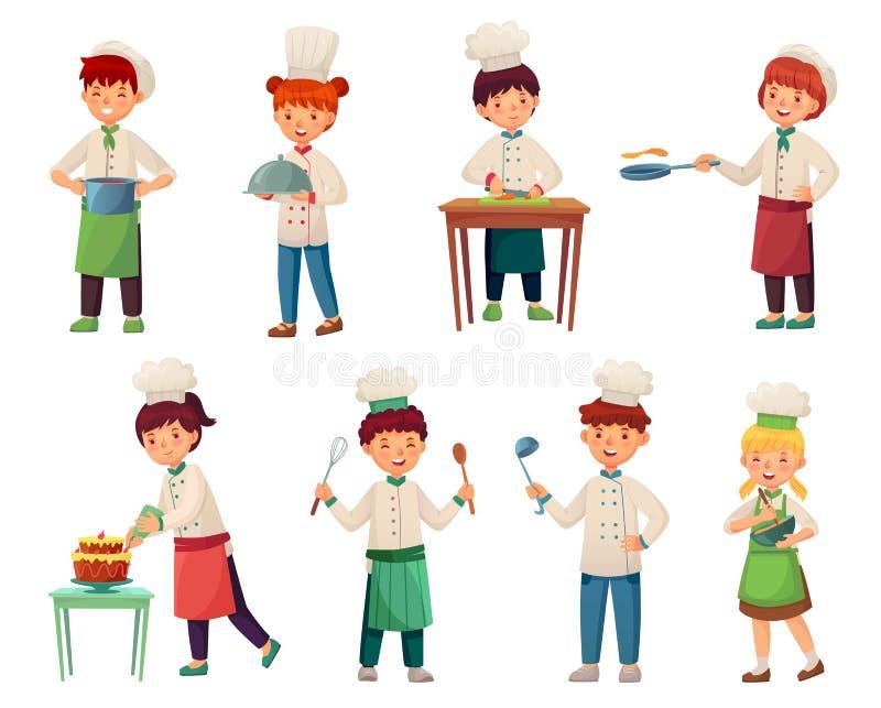Cozinheiros das crianças dos desenhos animados Cozinheiro principal pequeno, criança que cozinha o alimento e o grupo novo da ilu ilustração do vetor