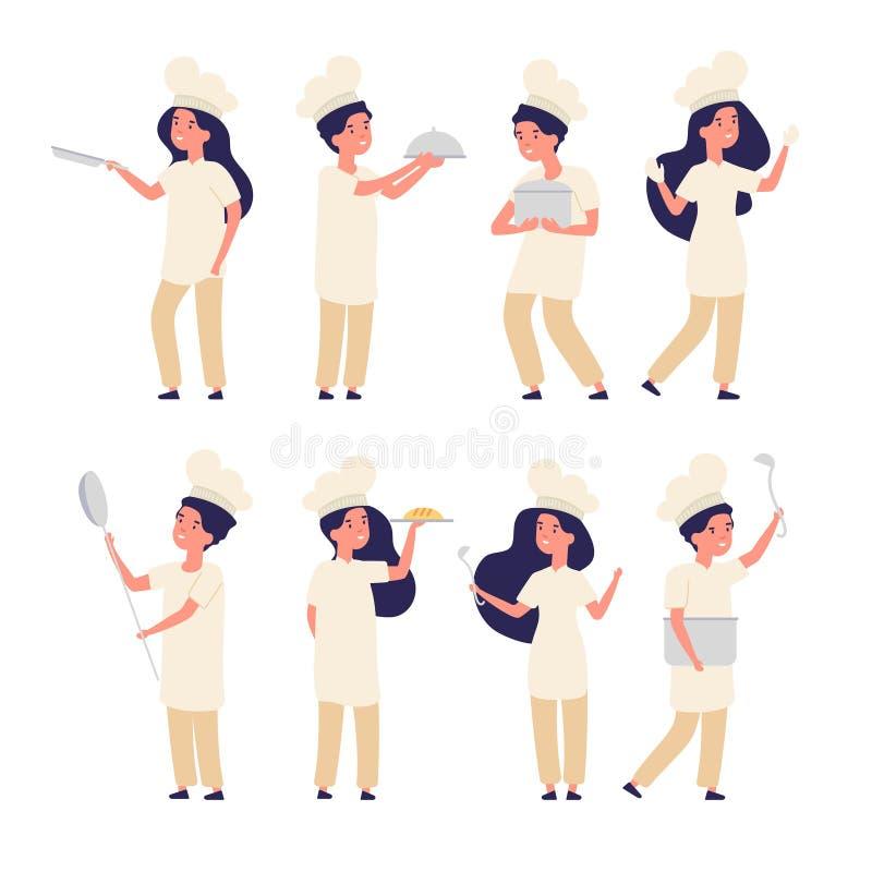 Cozinheiros das crianças Menino feliz, fogões principais pequenos da menina, crianças bonitos no uniforme que cozinham na cozinha ilustração stock