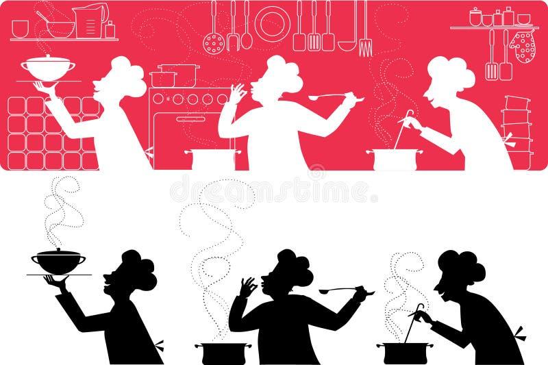 Cozinheiros na cozinha ilustração stock