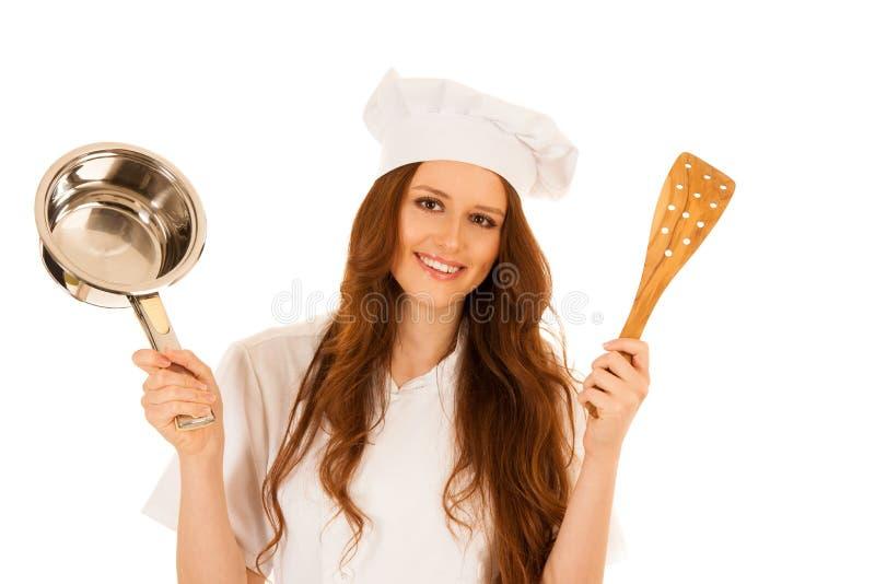 Cozinheiros novos felizes bonitos do cozinheiro chefe isolados sobre o branco fotos de stock royalty free