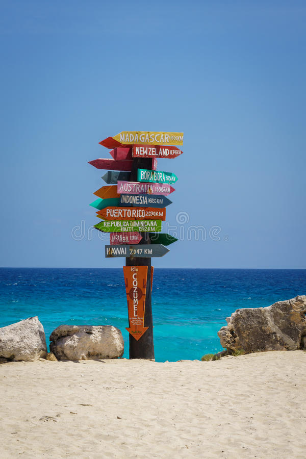 Cozumel distance sign. Colorful distance sign at the Punta Sur Eco Beach Park in Cozumel, Mexico stock photo