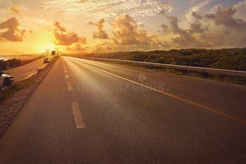 Cozumel island road Quintana Roo C-1. Cozumel island sunset road Quintana Roo C-1 in east side at Mexico stock photos
