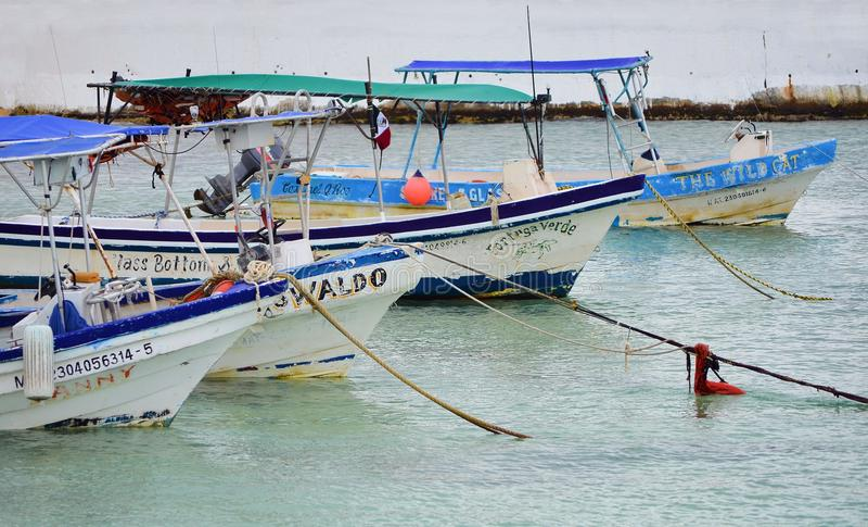 COZUMEL - MARZ 6: Vista do porto em Cozumel México A ilha é ficada situada 10 milhas ao leste do Playa del Carmen no golfo imagens de stock royalty free