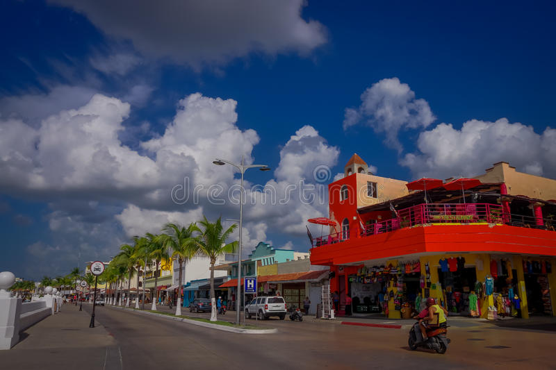 COZUMEL, MEXICO - MARCH 23, 2017: Beautiful vacation resort of Cozumel with some natural buildings, gorgeous blue ocean stock photography