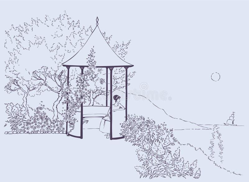 Cozy alcove in the lush garden near the sea