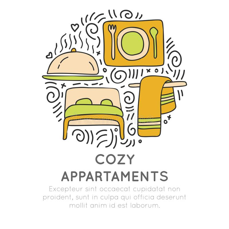 Cozy appartments hand draw cartoon vector icon concept. Bed, towel and food attributes about hotel and resorts in circle. Form with decorative elements. Hotel stock illustration