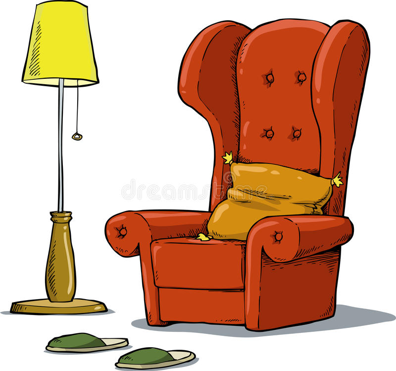Cozy armchair. A comfortable armchair and lamp stock illustration