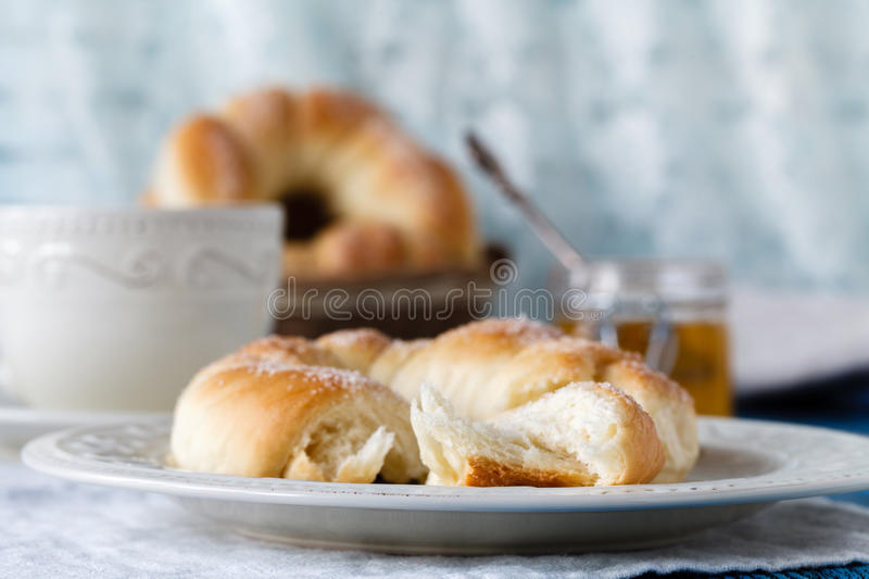 Cozy autumn breakfast on table in country house. stock photo