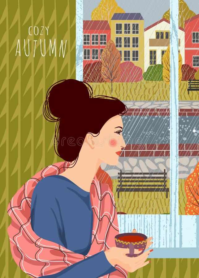 Cozy autumn. Cute flat vector illustration of woman with a cup of tea looking out the window.. Outside the window is an autumn. Cozy autumn. Cute flat vector stock illustration