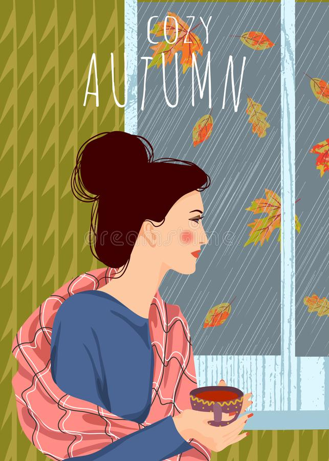Cozy autumn. Cute vector vertical illustration of woman with a cup of tea looking out the window. It`s raining outside. Cozy autumn. Cute flat vector vertical royalty free illustration