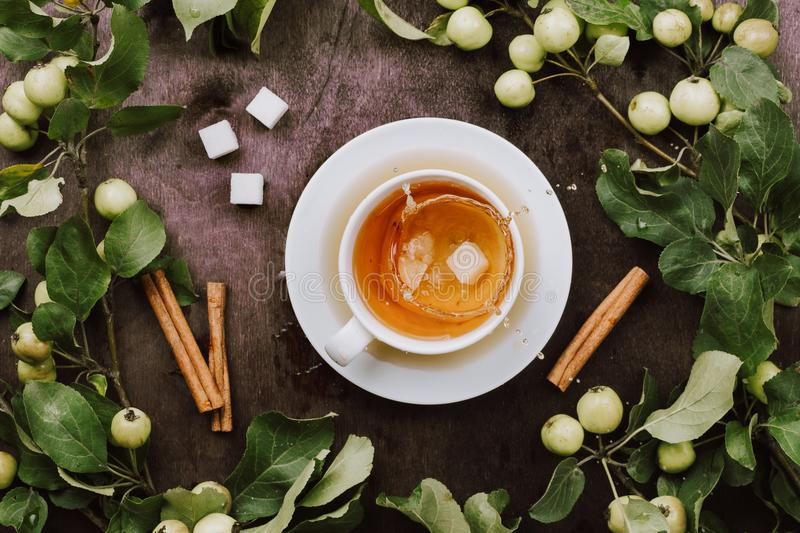 Cozy autumn flatlay with cup of warm tea, apple tree branches and cinnamon sticks. On wooden table stock photos