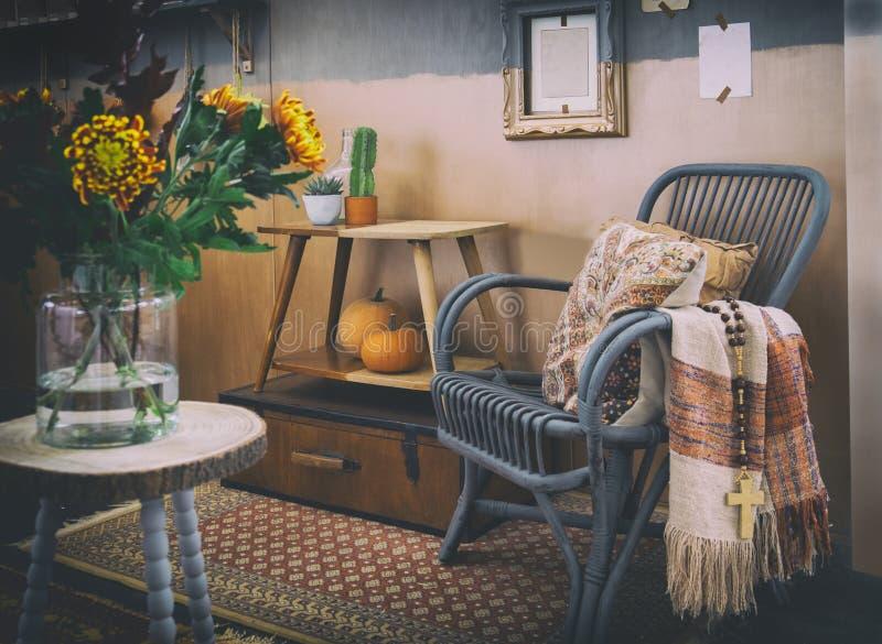 Cozy autumn interior stock photos