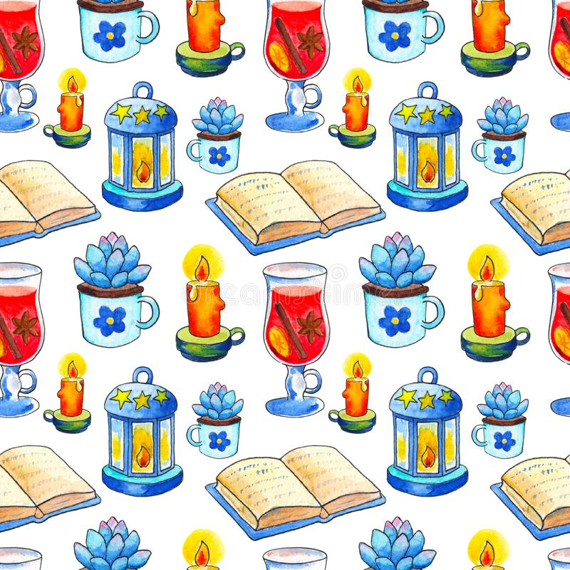 Cozy Autumn seamless pattern. Handdrawn watercolor book and candle on white background. royalty free illustration