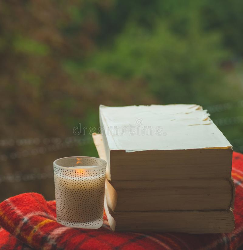 Still Life With A Coffee Cup And Candles Stock Image