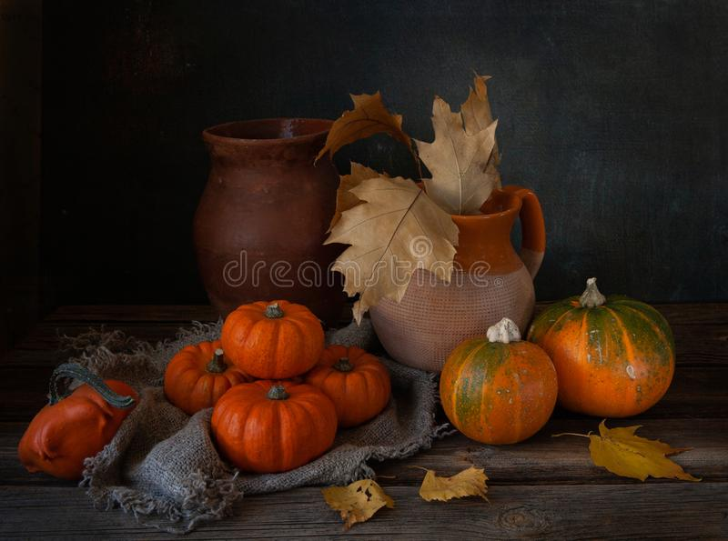 Cozy autumn still life with pumpkins and autumn leaves stock photos
