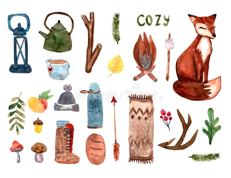 Cozy autumn watercolor set with home chose and fox.Scandinavian style stock illustration