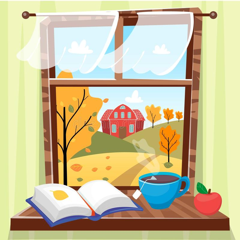 Cozy autumn window with beautiful fall view with trees, house and field. Book, apple and cup of tea on the windowsill stock illustration