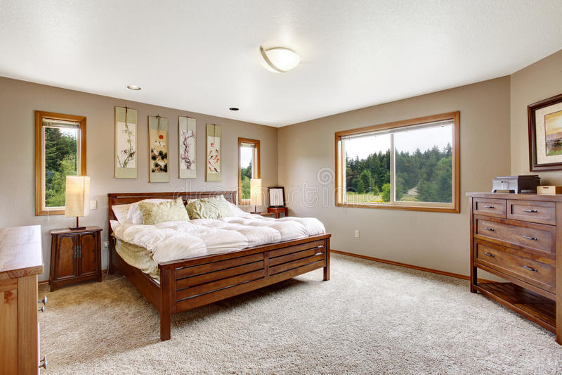 download cozy bathroom interior with double wooden bed and carpet floor stock image image