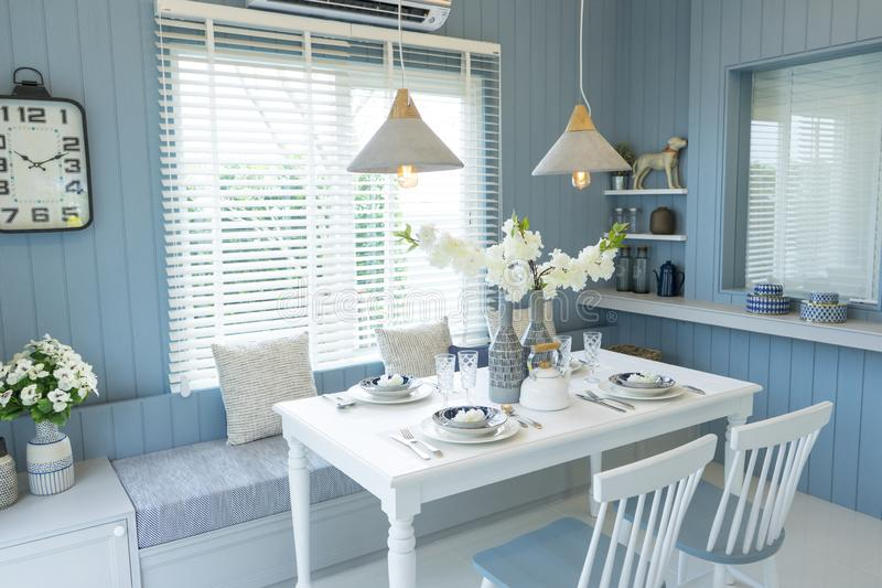 Beach blue dining room at home royalty free stock image
